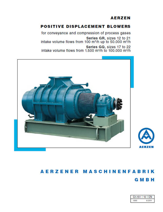 Aerzen Process Gas Blowers GQ и GR series - PDF catalogue