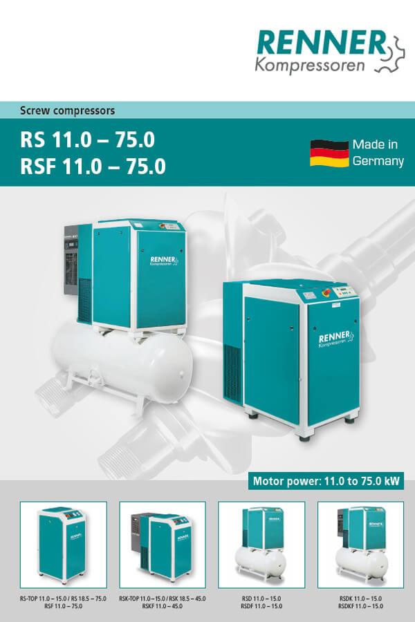 Renner винтови компресори серии RS 11-75kW, RSF 11-75kW