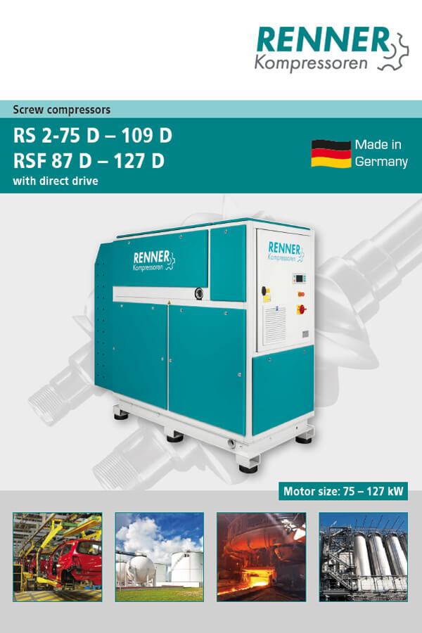 Renner винтови компресори серии RS 2-75D-109D, RSF 87D -127D