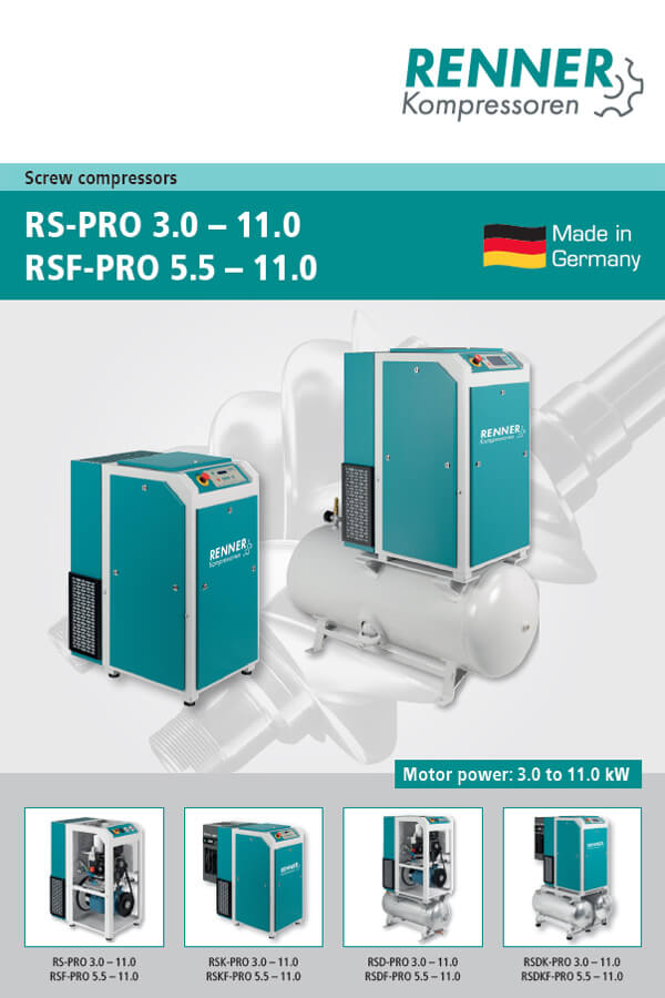 Renner винтови компресори RS PRO 3-11kW, RSF-PRO 5.5-11 kW