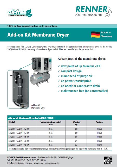 Renner Add-ON Kit Membrane Dryer мембранен изсушител за безмален винтов компресор