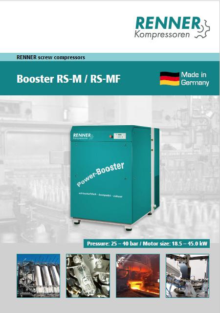 Renner винтови бустери RS(F)-М, налягане 25–40 bar и мощност: 18.5– 45 kW