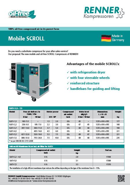 Renner Mobile SCROLL мобилен безмаслен винтов компресор