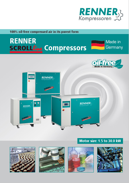 Renner SCROLLline безмаслени винтови компресори от 1.5kW до 30kW