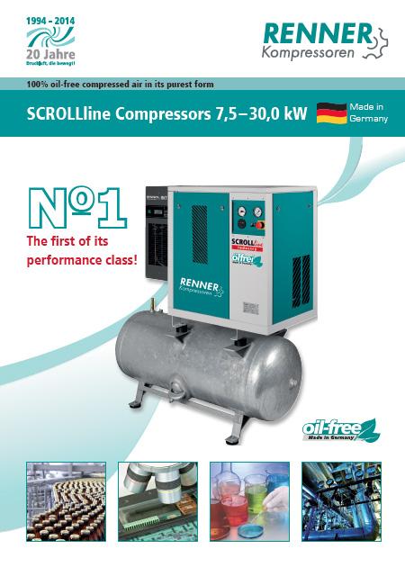 Renner SCROLLline безмаслени винтови компресори от 7.5kW до 30kW
