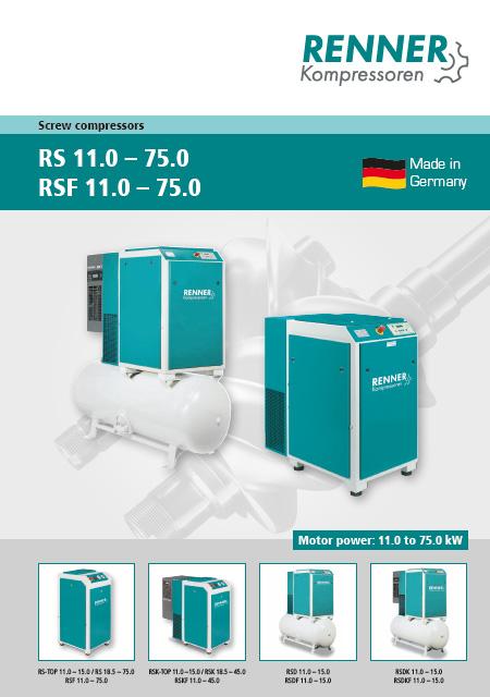 Renner винтови компресори RS(F), 11-75kW